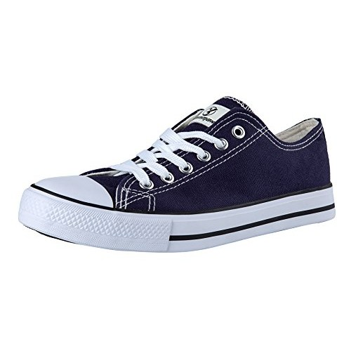 Shinmax Canvas shoes Unisex Low Cuts Canvas- Season Lace Ups Shoes Casual Trainers for Men and Women(Deep Blue,45)