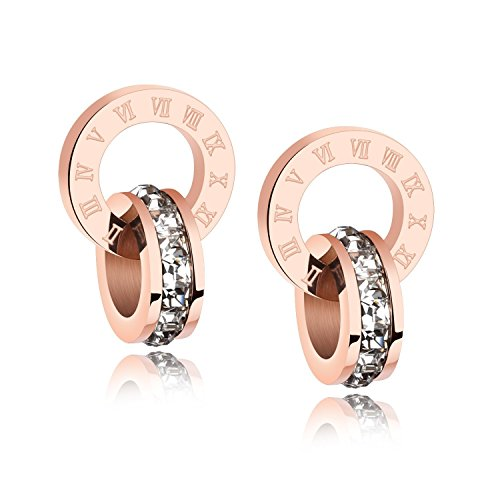 18k Rose Gold Stud Earrings Crystal From Swarovski Earring Jewelry Gifts for Women (earring)