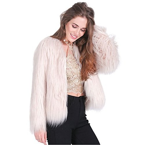Simplee Women's Winter Fluffy Long Sleeve Longhair Faux Fur Coat Outwear Pink