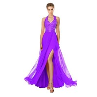 Sisjuly Women's Halter Beaded Appliques Split Side Chiffon Prom Dress Size 16 Purple