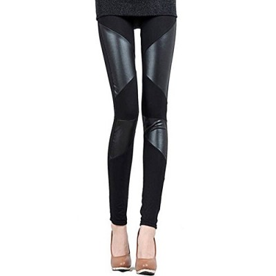 Hot! Womens Faux Leather Stitching Stretchy Black Leggings Pants- (two striped) …