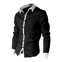 SODIAL(R) Men Dress Shirts Long Sleeved Casual Shirt with Cufflink - Black Size M