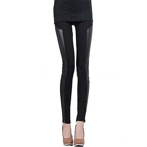 Women Leather Legging - SODIAL (R) Women's Stretchy Leggings Skinny Legging PU Leather Cotton Legging Black XL