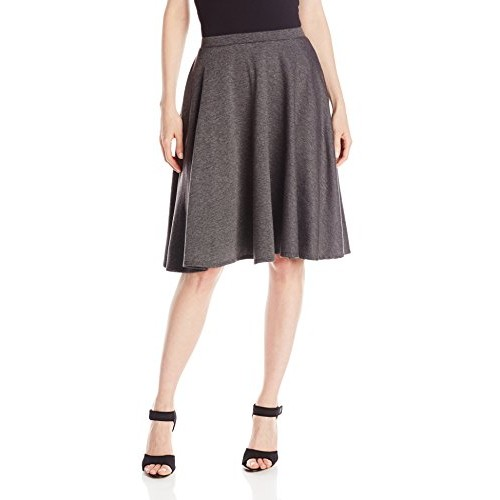 Star Vixen Women's Knee Length Full Skater Skirt, Charcoal, Medium