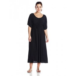 Star Vixen Women's Plus-Size Flutter Sleeve Empire Maxi Dress, Black, 3X