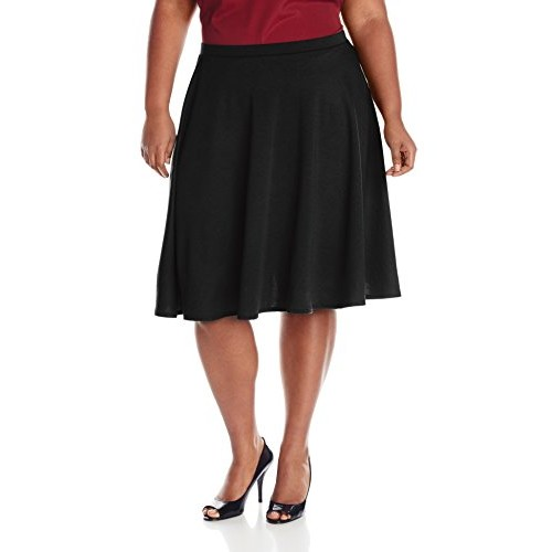 Star Vixen Women's Plus-Size Knee Length Full Skater Skirt, Black, 1X