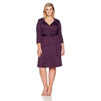 Star Vixen Women's Plus-size Plus-size Str Ponte Classic Fauxwrap Dress W Collar Dress, -plum, 1X