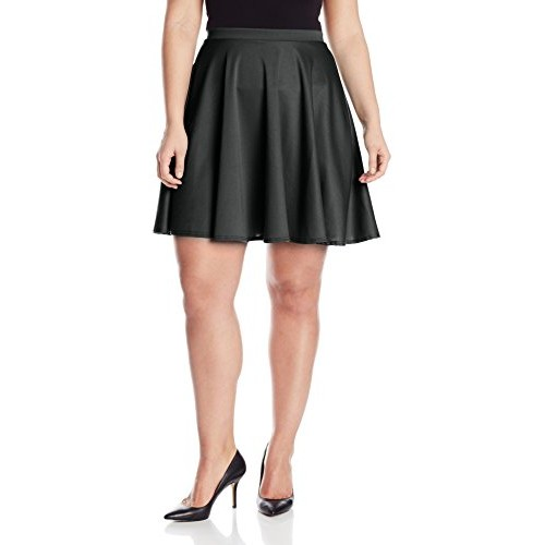 Star Vixen Women's Plus-Size Short Skater Skirt, Black, 3X
