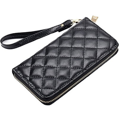 Surker Women's Simple Fashion Zipper Clutch Purse Multi-function Billfold Wallet
