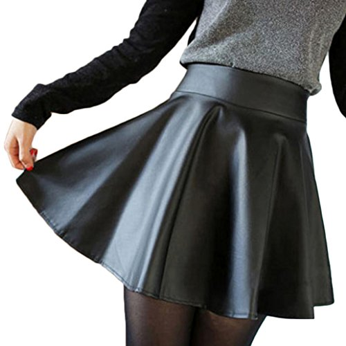 Susenstone®Women Faux Leather High Waist Skater Flared Pleated Short Mini Skirt (S)