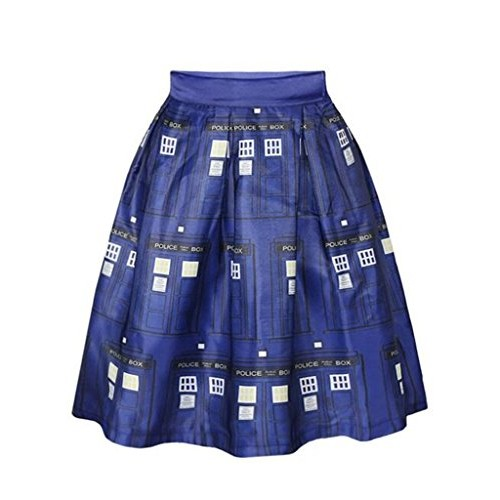 Womer Girls Beautiful Printed fit Thin Overknee Expansion Skirt Midiskirt Police Office S/M