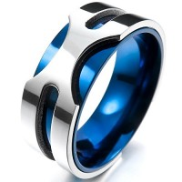 TEMEGO Jewelry Mens Stainless Steel Ring, 8mm Classic Round Band, Blue Silver