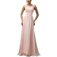 ThaliaDress Long Sheer Neck Evening Bridesmaid Dresses Prom Gown T004LF Pink US4