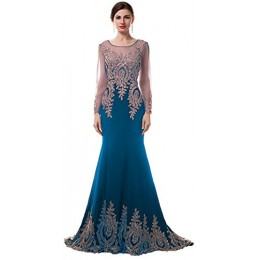 ThaliaDress Luxury Mermaid Evening Party Celebrity Dresses Prom Gowns T030LF Navy Blue US16