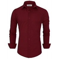Tom's Ware Mens Casual Slim Fit Button Down Shirt TWFD001-1-CS05-WINE-US XL