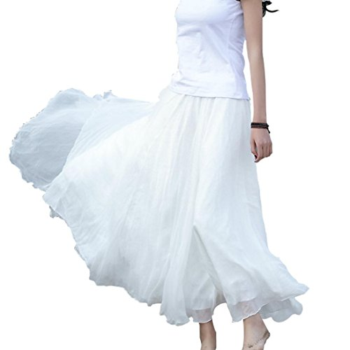 Beach Dress, TOOPOOT Women Elastic Waist Chiffon Long Maxi Beach Skirt (white)