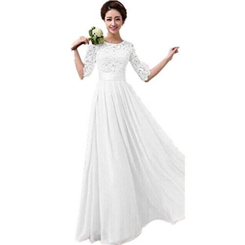 Women Long Bridesmaid Prom Gown Evening Formal Party Cocktail Prom Dress (L ( US M ), White)