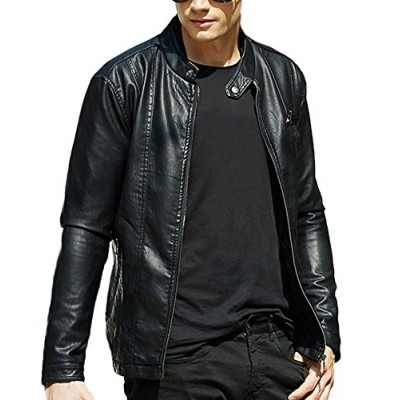 Ubasics Men's Fashion Casual Dip-Dyed Solid Simple Faux Leather Coat Black 36