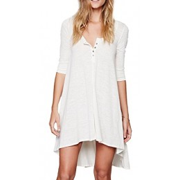 Urban CoCo Women's Half Sleeve High Low Loose T-shirt Tunic Top Dress (S, White)