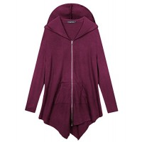 Urban CoCo Women's Plus Size Hooded Sweatshirt Jacket Cape Style (3XL, Fuchsia Rose-1)