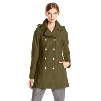 Via Spiga Women's Double Breasted Military Wool Coat with Gold Buttons, Lush Olive, 10