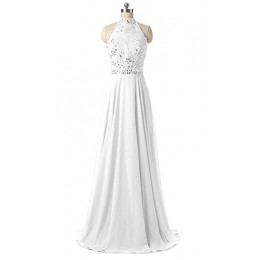 WenSai Women's Halter Beaded Evening Party Gowns Sequins Formal Prom Dresses Long White us2