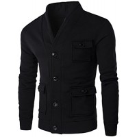 What Lees Mens Casual Solid Button Down V-Neck Outwear Sport Coat B251-Black-S