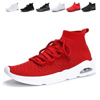 Men Slip-on Running Casual Sport Shoes Lightweight Breathable Fashion Sneakers Walking Shoes-red42