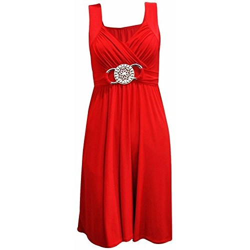 New Womens Plus Size Knee Length Gorgeous Buckle Evening Party Dress ( Red, 1X )