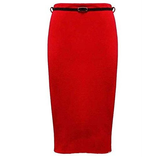 Womens Belted Plain Pencil Skirts Long Bodycon Stretch Office Skirt (6, Red)