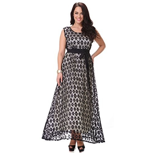 Yacun Women's Sleeveless Lace Swing Dress Maxi Evening Gown Plus Size_XL