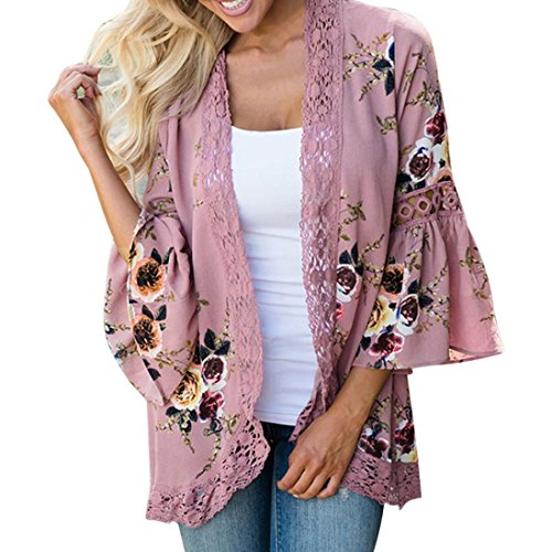Yang-Yi Clearance, Women Lace Floral Open Cape Casual Cardigan Loose Blouse Kimono Cardigan Beach Dress (Pink, US L)