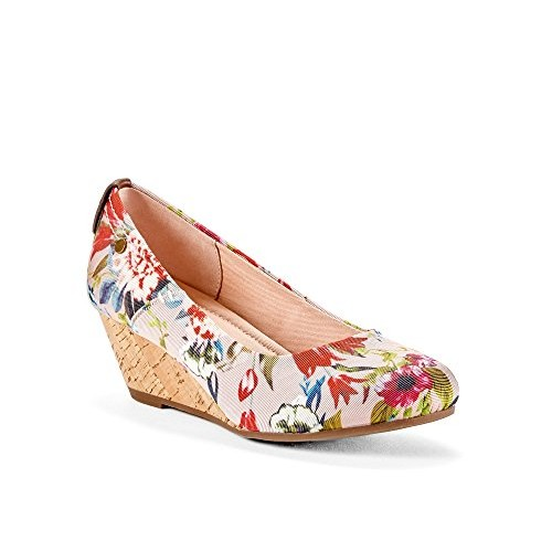 MAJORCA Dress Womens Multi Floral Pink Wedge Shoes - Casual & Comfortable & Fashion - Made from Textile Fabric Chambray & Genuine Cork & ...