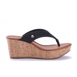 SISQO Womens Black Casual Wedge Sandals - Fashion & Comfortable Shoes - Made from Genuine Cork & Snakeskin Finish Synthetic Leather - Per...