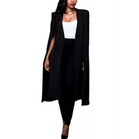 Zojuyozio Womens Summer Formal Sleeveless Blazer Open Front Cloak Plus Size Black S